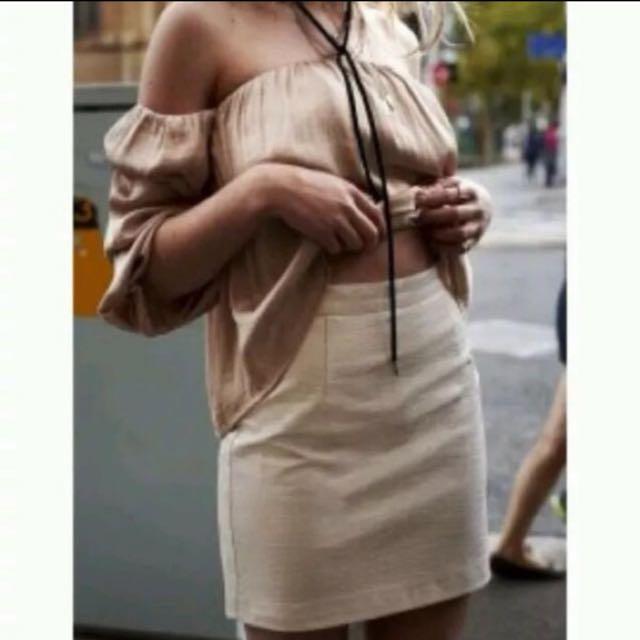 Bardot Embossed Snake Mini Skirt Beige size 6