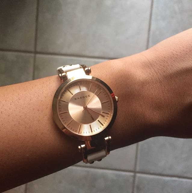 Basque rose gold and white watch
