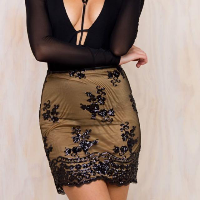 Black & Gold Sequin Mini Skirt