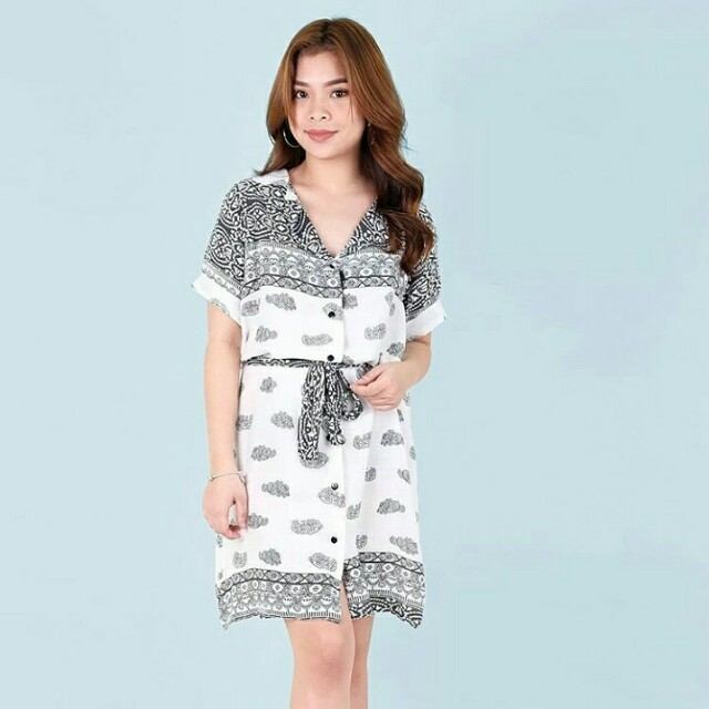 Black & white senepa buttondown dress