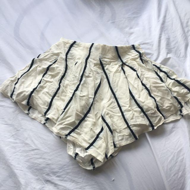 Black & White Striped High Waisted Shorts