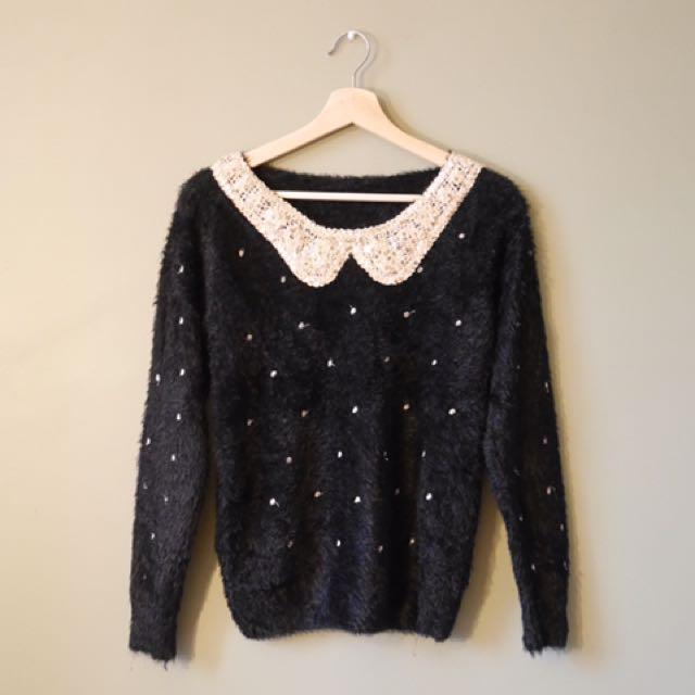 Black and cream polka dot mohair sweater