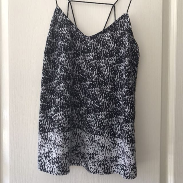 Black and white Bardot top. Backless. Size 10