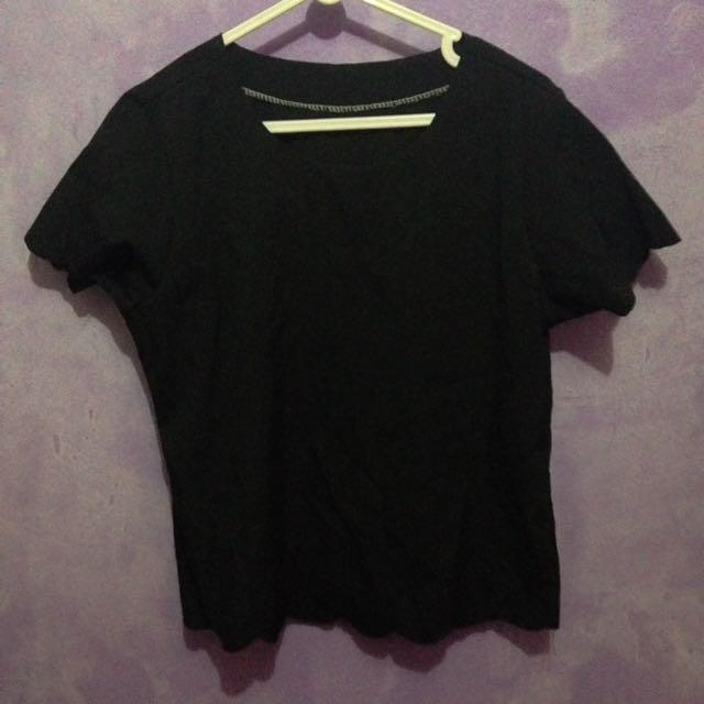 Black scallop top/shirt