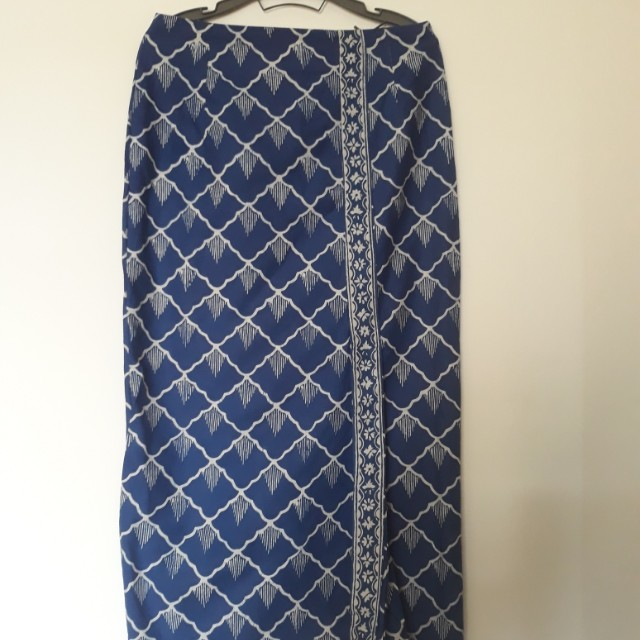 Blue White Batik Skirt full length