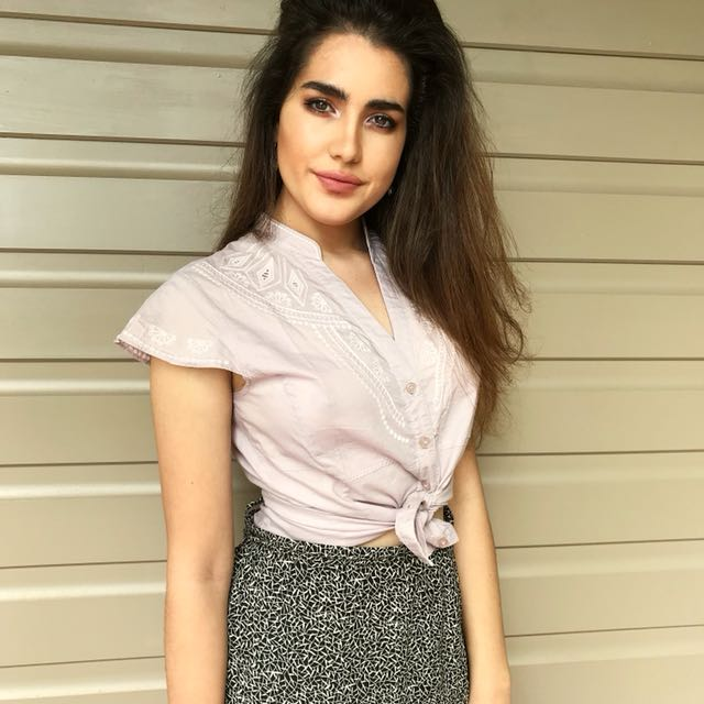 Blush Pink tip up embroidered top
