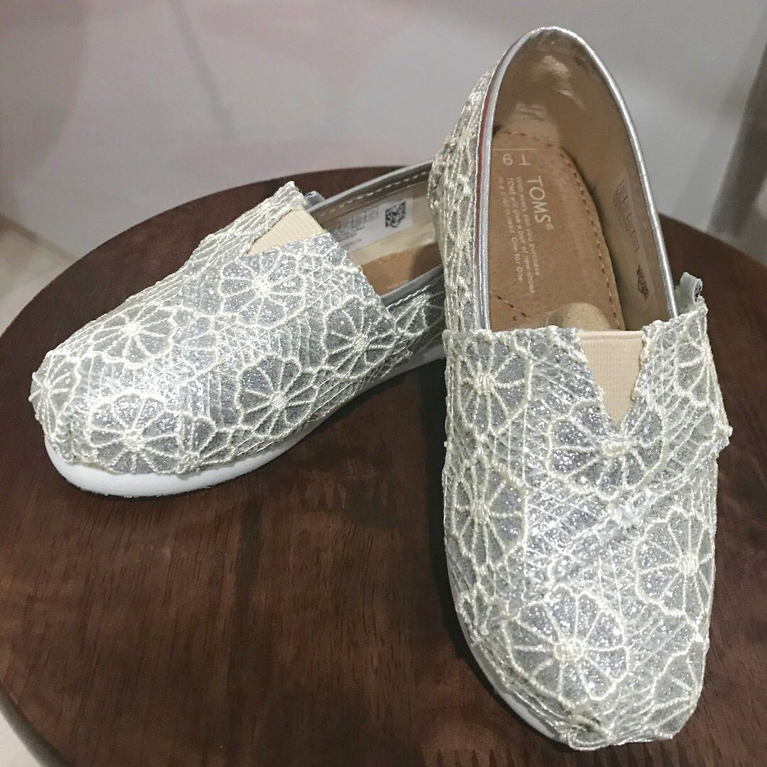 Bn Authentic Toms Shoes Silver Crochet Glitter Tiny Toms