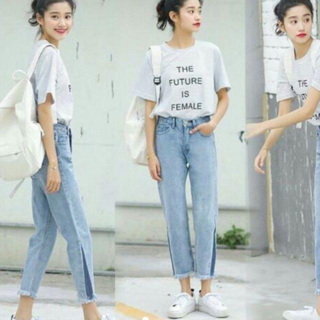 Boyfriend fringe jeans