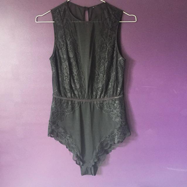 Bras n things black mesh bodysuit size 12