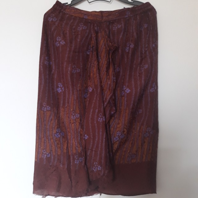 Brown Purple Flower Batik Skirt
