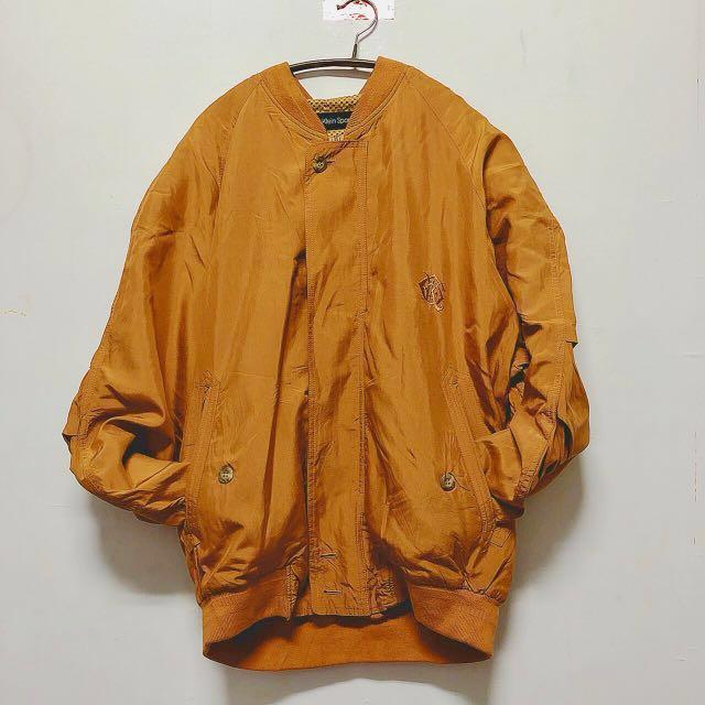 古著Calvin Klein Sport 秋冬 防風 休閒長袖外套  風衣外套 橘色  11月