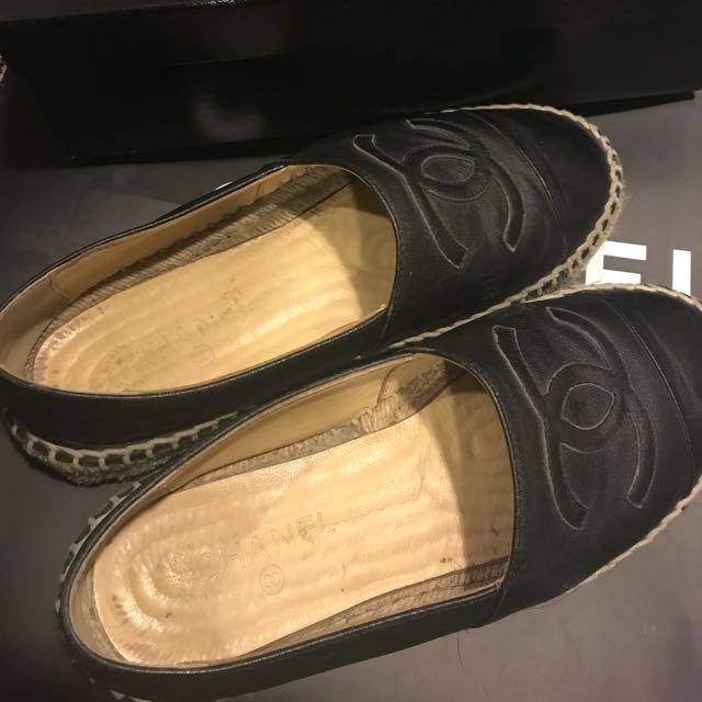Chanel 小羊皮厚底草編鞋