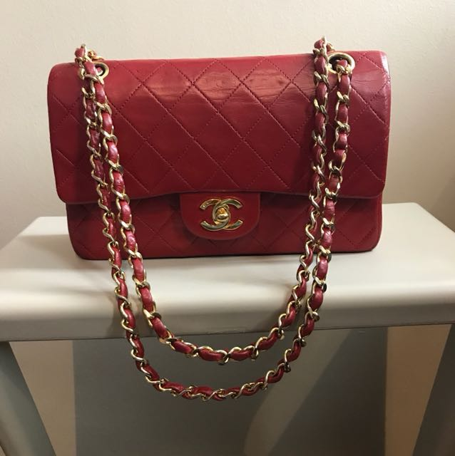 97028f587eb638 Chanel Vintage Quilted Lambskin Small Classic Double Flap Bag - rare red  colour!, Luxury, Bags & Wallets on Carousell