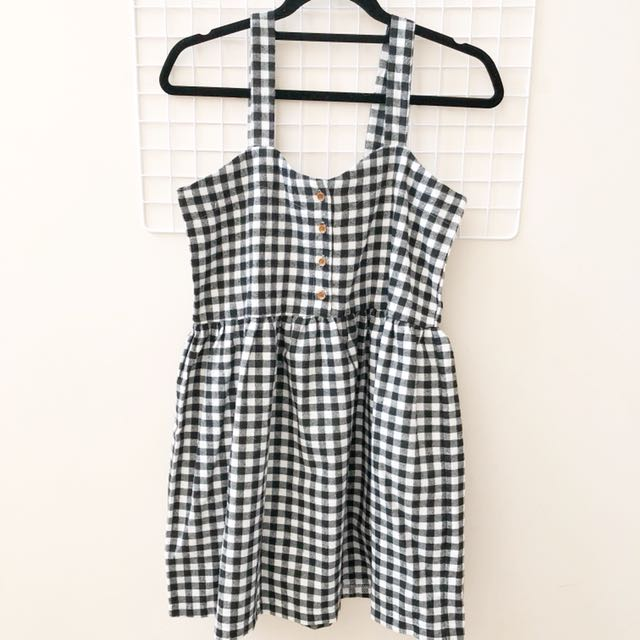 Checkered black and white dress from korea