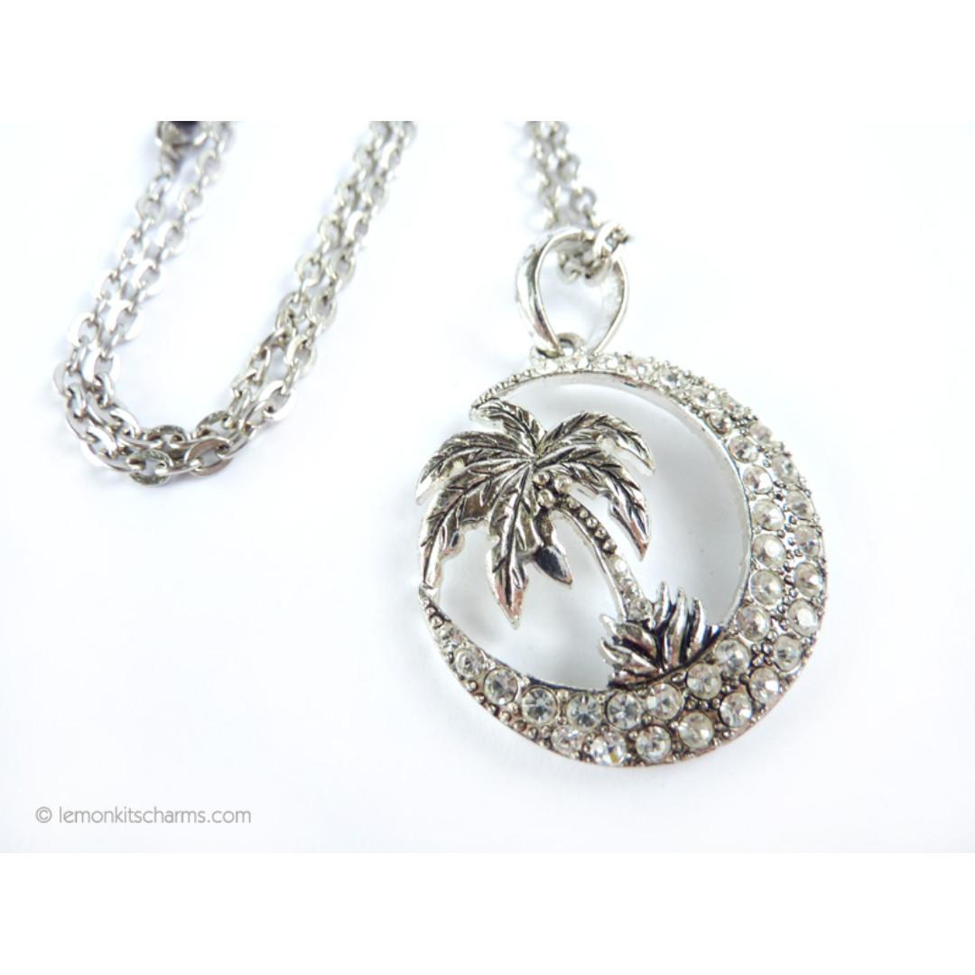 Coconut Tree Moon Crescent Necklace, nk1056-c