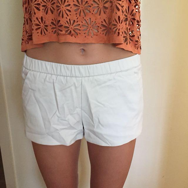 Cream leather shorts