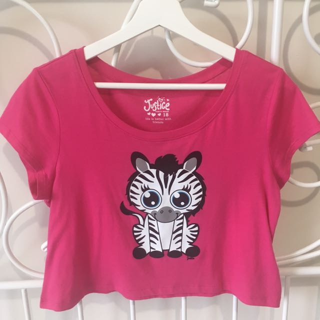 Cute pink zebra crop top