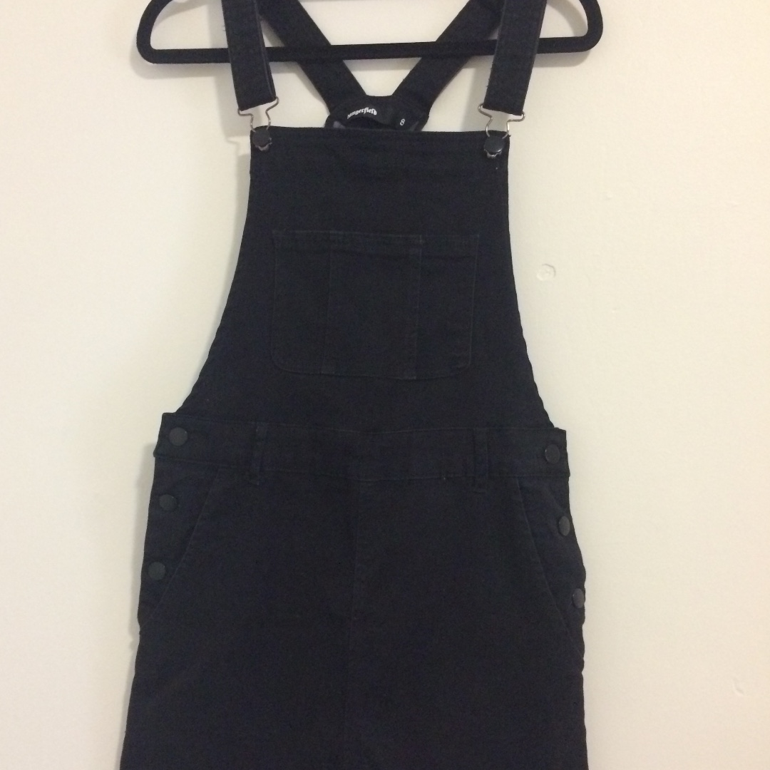 Dangerfield Black Denim Pinafore Dress Size Small / 8 / S