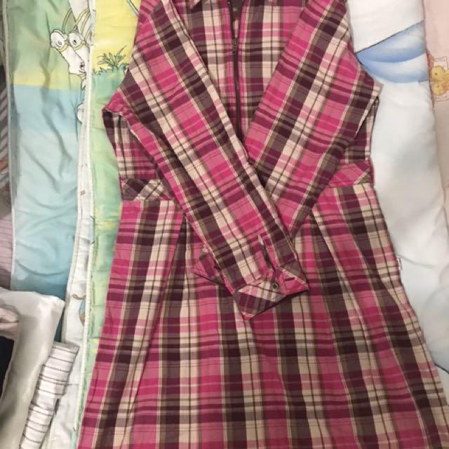 Dress Batik warna pink