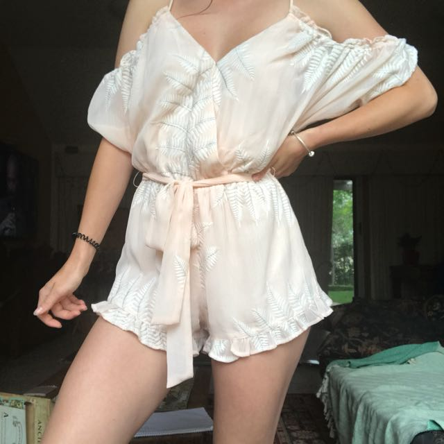 Embroided Palm Playsuit