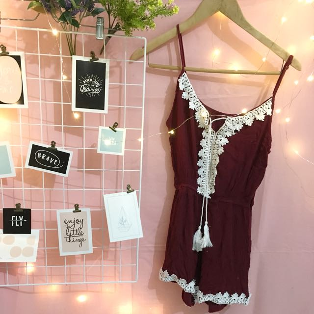 Embroidery maroon romper