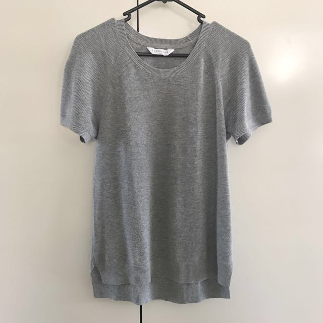 Everlane Crew Cotton Sweater Short Sleeve - Heather Grey Size XS