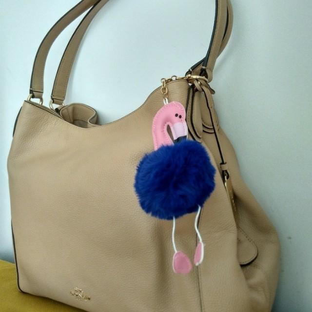 Flamingo pompom bag charm