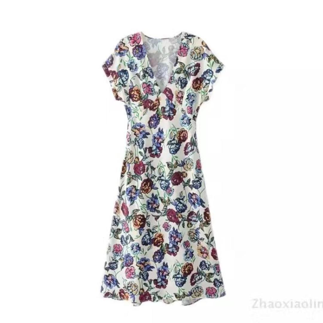 Floral V Neck Long Dress