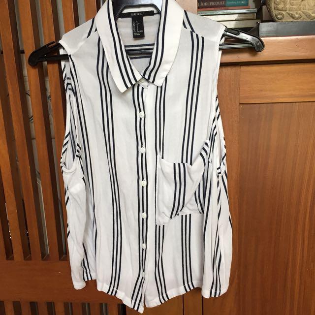 Forever 21 Striped Sleeveless Polo