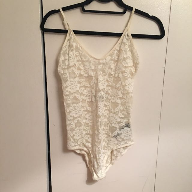 Free People Cream Lace Bodysuit