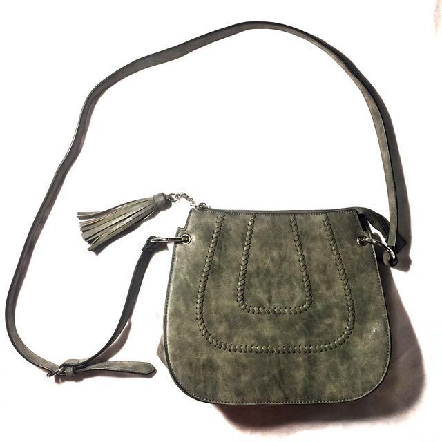 Gray Sling Bag with Tassles