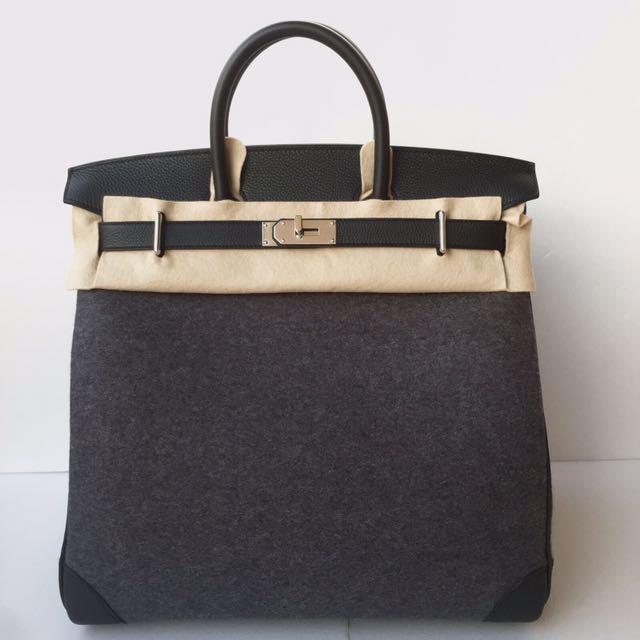 a9413d5702 ... authentic hermes limited edition black gris moyen haut à courroies hac  40 in feutre veau togo