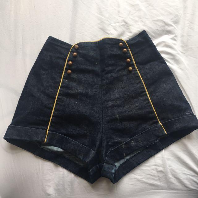 High Waisted Sailor Style Shorts