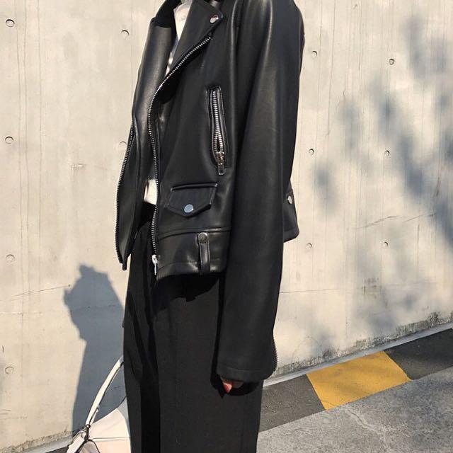 ioz 超好質感黑色皮衣夾克外套