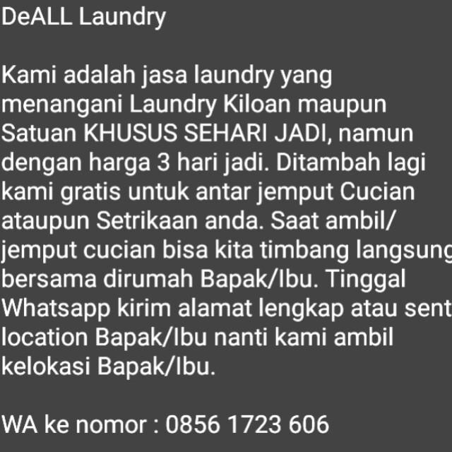 Jasa Laundry Murah Khusus Sehari Jadi, Gratis antar/jemput SeDEPOK