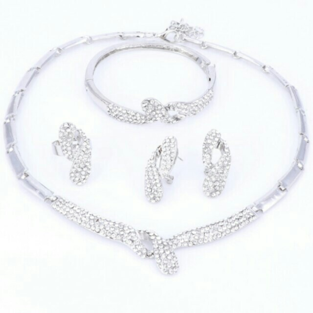 claire tone crystal rose set jewellery silver s