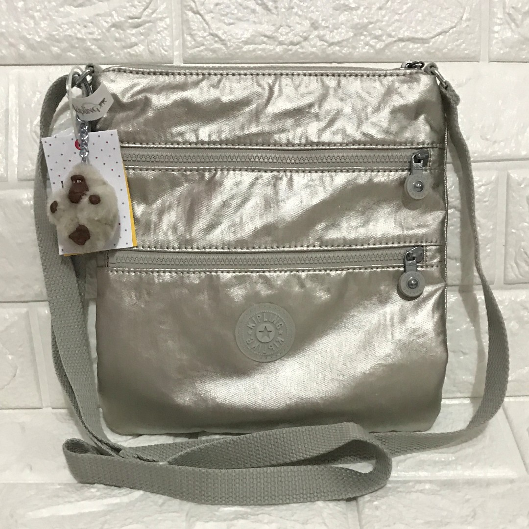 Kipling Keiko Silver Crossbody Sling from USA with tags