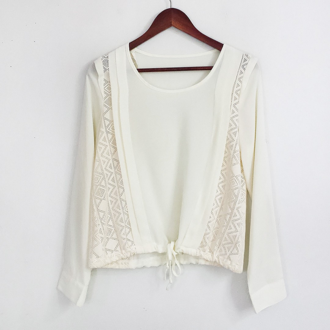 [RESERVED] Korean Fashion Style Semi-Sheer with Tied Bottom Blouse