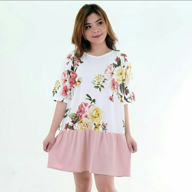 Korean floral combi dress