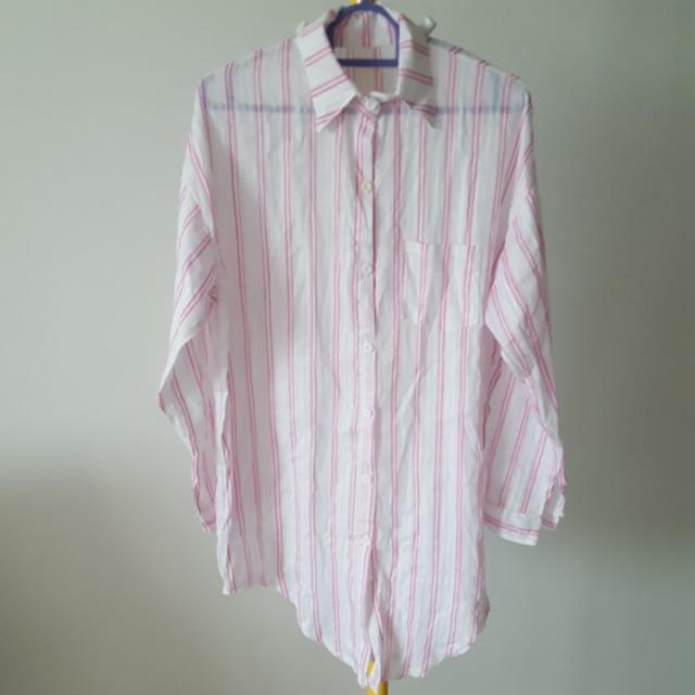 Korean Styled Stripe Casual Comfy Blouse Button Shirt Free Size