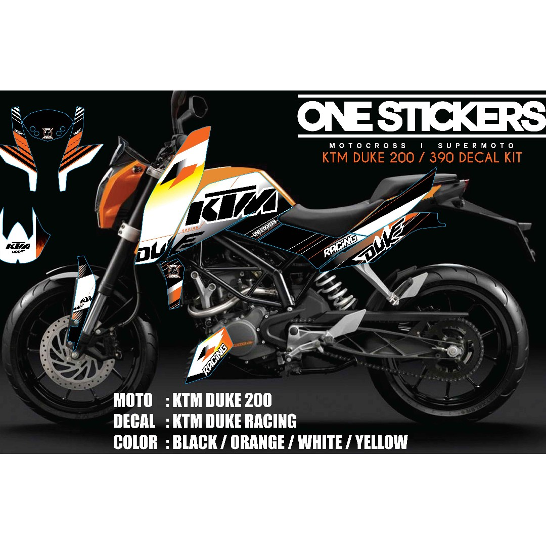 Ktm duke 200 390 decal kit auto accessories on carousell