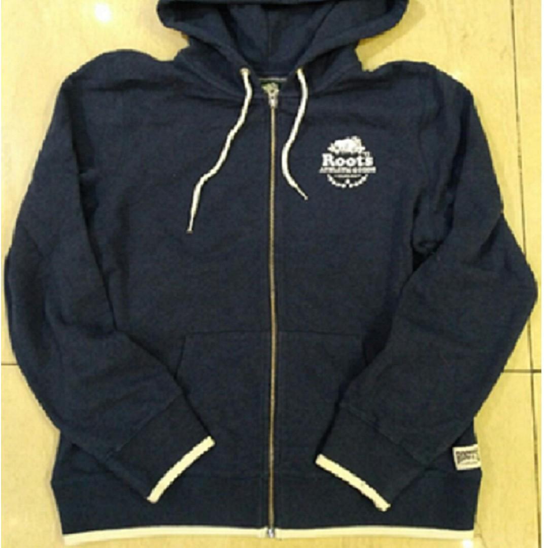 【LA 潮流】 特價 ! 加拿大海狸 ROOTS 新款 男女 內刷外絨質 舒適運動休閒 楓葉連帽外套-深藍 !