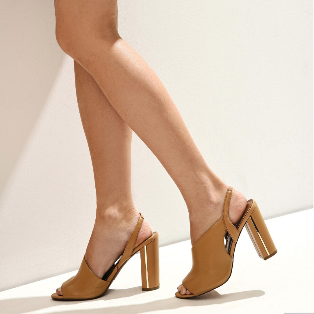 Genuine Leather Asymmetrical Camel Heels