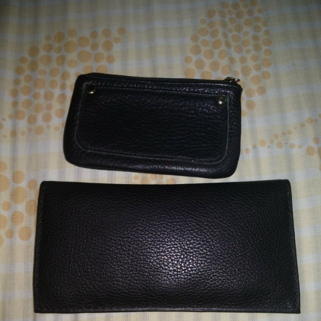 Leather Black Wallet and coin purse