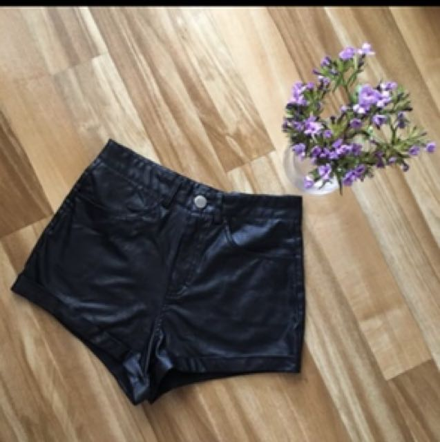 Leather booty shorts