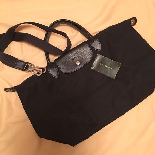 [含運]Longchamp 尼龍肩背包 黑