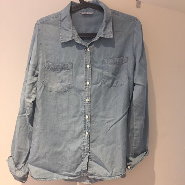 loose denim shirt