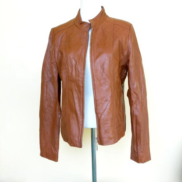 黃棕色真皮夾克外套羊皮外套M