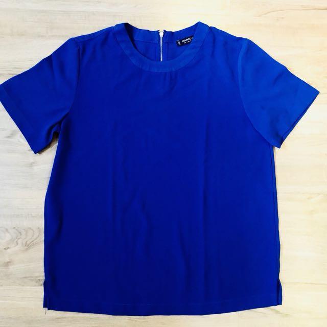 Mango Basic Top in royal blue (Xs-S)