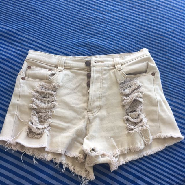 Mink Pink Ripped high waisted shorts size 12